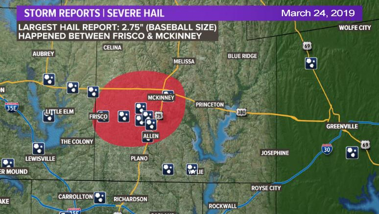 Collin County Hail Damage on Sunday, March 24th, 2019